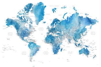 Ταπετσαρία τοιχογραφία Blue watercolor world map with cities, Raleigh