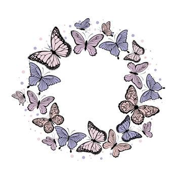 Ταπετσαρία τοιχογραφία Butterfly wreath