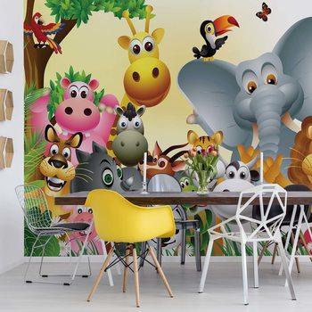 Ταπετσαρία τοιχογραφία Cartoon Animals Elephant Tiger Cow Pig