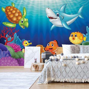 Ταπετσαρία τοιχογραφία Cartoon Sea Creatures