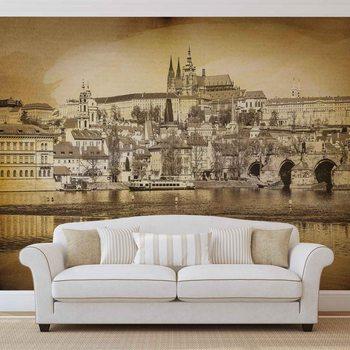 Ταπετσαρία τοιχογραφία City Prague Bridge Cathedral River Sepia