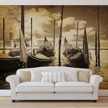 Ταπετσαρία τοιχογραφία City Venice Gondolas Boats Sepia