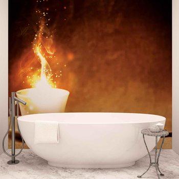Ταπετσαρία τοιχογραφία Coffee Cafe Fire