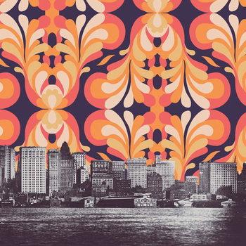 Ταπετσαρία τοιχογραφία Colorful sky above New York