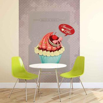 Ταπετσαρία τοιχογραφία Cupcake Vintage Retro
