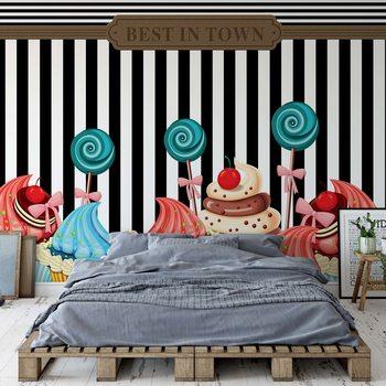 Ταπετσαρία τοιχογραφία Cupcakes Retro