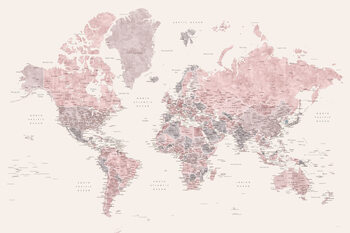Ταπετσαρία τοιχογραφία Detailed watercolor world map in dusty pink and cream, Madelia