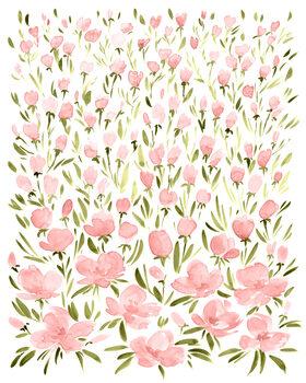 Ταπετσαρία τοιχογραφία Field of pink watercolor flowers