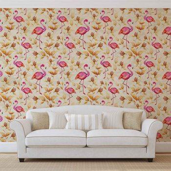 Ταπετσαρία τοιχογραφία Flamingos Bird Pattern