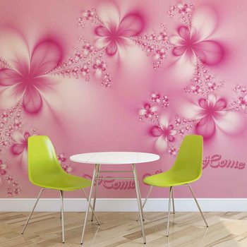 Ταπετσαρία τοιχογραφία Flowers Home Pink