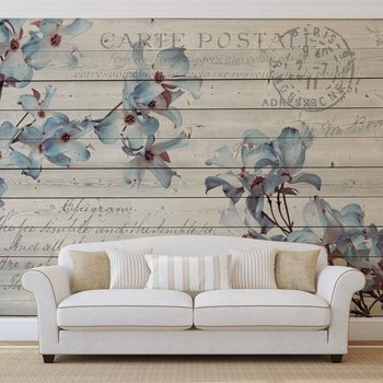 Ταπετσαρία τοιχογραφία Flowers Wood Pattern Vintage