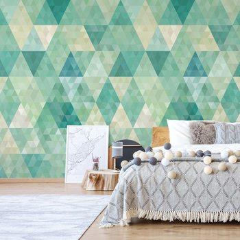 Ταπετσαρία τοιχογραφία Green Modern Geometric Pattern