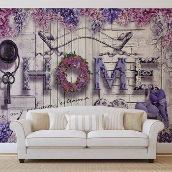 Ταπετσαρία τοιχογραφία Home Flowers Vintage