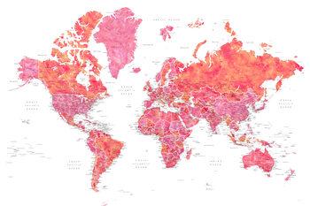 Ταπετσαρία τοιχογραφία Hot pink and coral detailed world map with cities, Tatiana