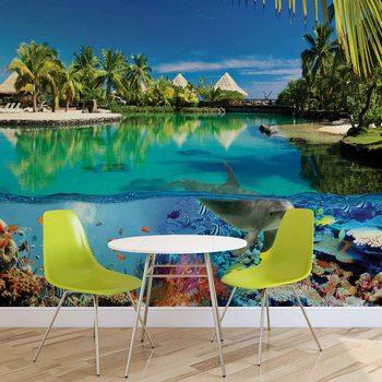 Ταπετσαρία τοιχογραφία Island Paradise With Corals Dolphin