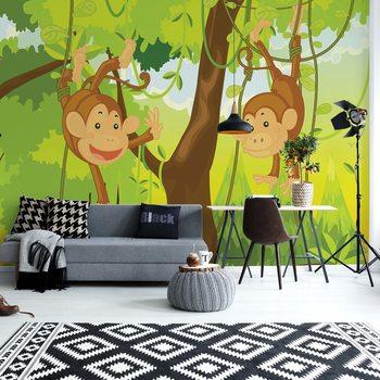 Ταπετσαρία τοιχογραφία Jungle Monkeys