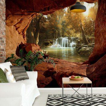 Ταπετσαρία τοιχογραφία Lake Forest Waterfall Cave