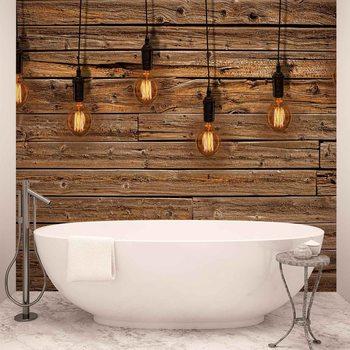 Ταπετσαρία τοιχογραφία Light Bulbs Wood Plankets
