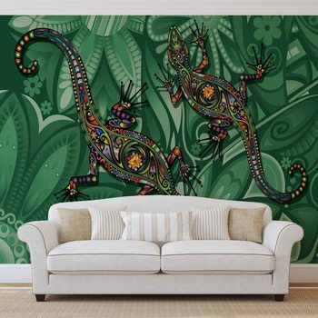 Ταπετσαρία τοιχογραφία Lizards Flowers Abstract Colours