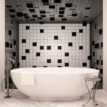 Ταπετσαρία τοιχογραφία Modern Abstract Squares Black White