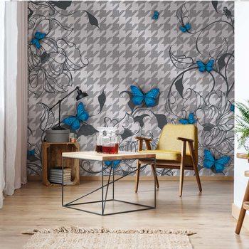 Ταπετσαρία τοιχογραφία Modern Blue Butterflies Design