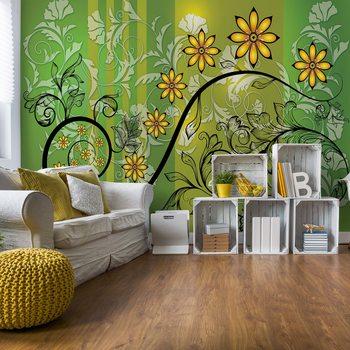 Ταπετσαρία τοιχογραφία Modern Floral Design With Swirls Green And Yellow