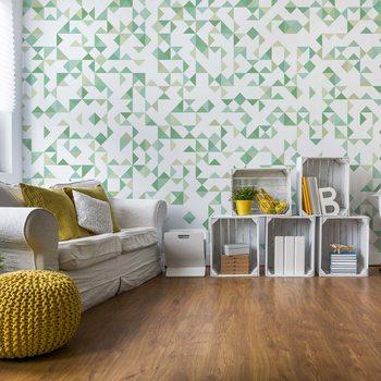 Ταπετσαρία τοιχογραφία Modern Geometric Pattern Green