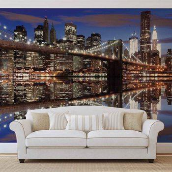 Ταπετσαρία τοιχογραφία New York Brooklyn Bridge Night