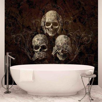 Ταπετσαρία τοιχογραφία No Listen See Speak Skull Alchemy