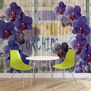 Ταπετσαρία τοιχογραφία Orchids Flowers Wooden Planks