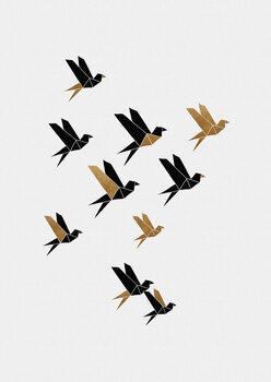 Ταπετσαρία τοιχογραφία Origami Birds Collage II