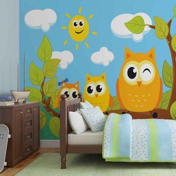 Ταπετσαρία τοιχογραφία Owls Tree