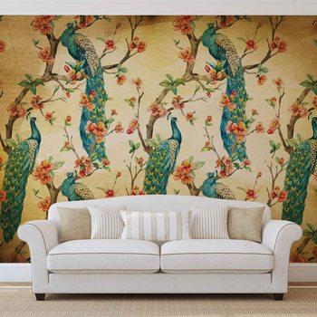 Ταπετσαρία τοιχογραφία Pattern Peacocks Flowers Vintage
