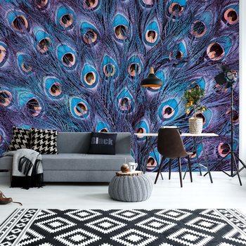 Ταπετσαρία τοιχογραφία Peacock Feathers Blue And Purple