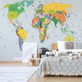 Ταπετσαρία τοιχογραφία Political World Map Atlas