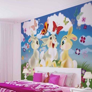 Ταπετσαρία τοιχογραφία Rabbit Bunny Butterflies Flowers