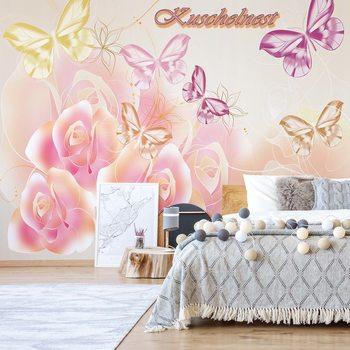 Ταπετσαρία τοιχογραφία Roses Butterflies