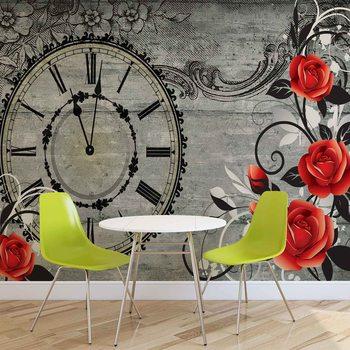 Ταπετσαρία τοιχογραφία Roses Clock Wood Planks Vintage