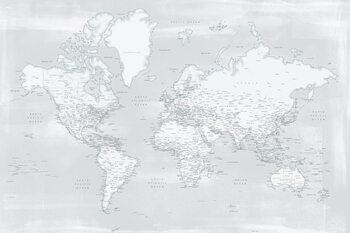 Ταπετσαρία τοιχογραφία Rustic distressed detailed world map in cold neutrals