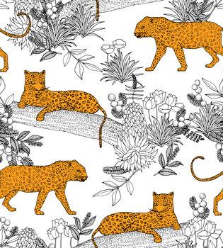 Ταπετσαρία τοιχογραφία Serengeti Leopards - White