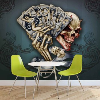Ταπετσαρία τοιχογραφία Skull Dice Cards