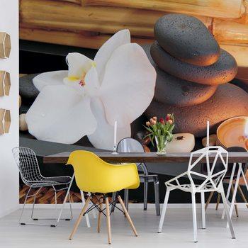 Ταπετσαρία τοιχογραφία Spa Pebbles And Flowers