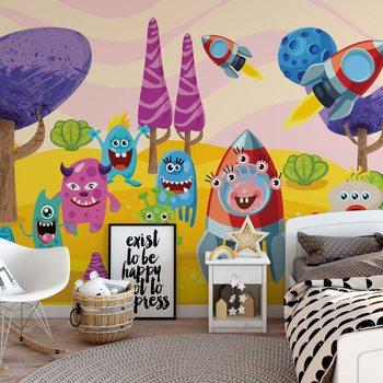 Ταπετσαρία τοιχογραφία Space Monsters