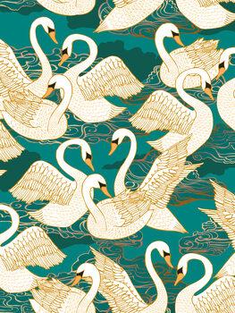 Ταπετσαρία τοιχογραφία Swans - Turquoise