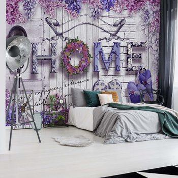 Ταπετσαρία τοιχογραφία Vintage Chic Home Flowers And Wood Texture
