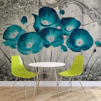 Ταπετσαρία τοιχογραφία Vintage Flowers Blue Grey