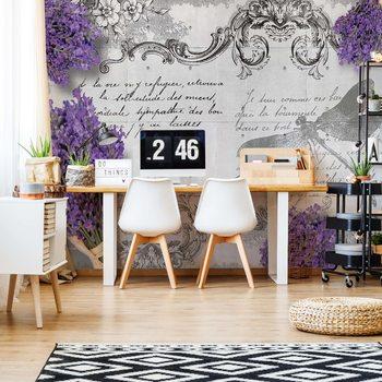 Ταπετσαρία τοιχογραφία Vintage Lavender And Dragonfly Design