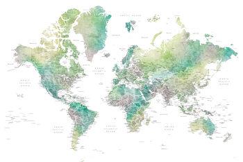 Ταπετσαρία τοιχογραφία Watercolor world map with cities in muted green, Oriole