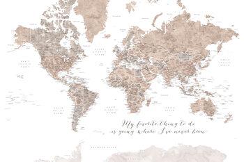 Ταπετσαρία τοιχογραφία Where I've never been, neutrals world map with cities