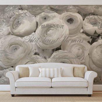 Ταπετσαρία τοιχογραφία White Roses Vintage Effect
